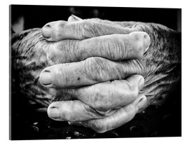 Verre acrylique  Hands of an old man