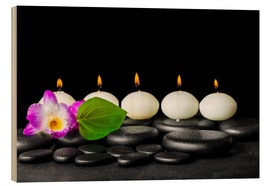 Tableau en bois  spa still life with candles