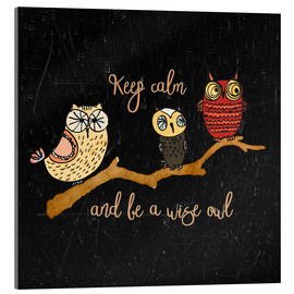 Tableau en verre acrylique  Keep calm and be a wise owl - UtArt
