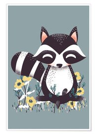 Poster  Animal friends - The raccoon - Kanzi Lue