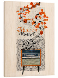 Tableau en bois  Music On - Mandy Reinmuth