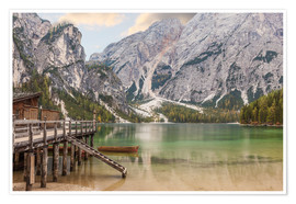 Poster Autumn at Lake Braies in South Tyrol
