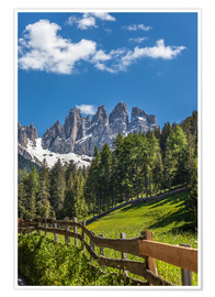 Poster  Villnoess valley with Dolomites in South Tyrol (Italy) - Christian Müringer