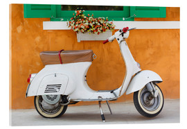 Tableau en verre acrylique  White scooter in front of a window