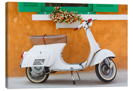 Tableau sur toile  White scooter in front of a window