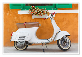 Poster  White scooter in front of a window