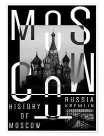 Poster  Moscow - Moscou - Typobox