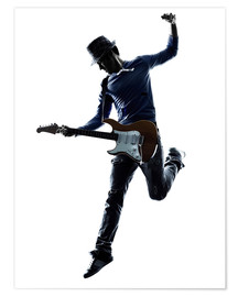 Poster Electric guitarist jumping