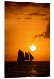 Verre acrylique  Sailing ship and sunset, Key West