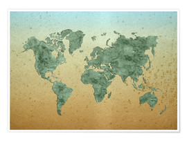 Poster Vintage World Map