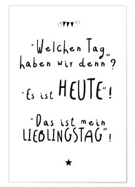 Poster Lieblingstag (allemand)
