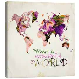 Tableau sur toile  What a wonderful world (mappemonde) - Mandy Reinmuth