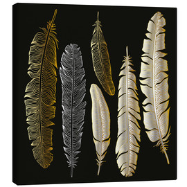 Tableau sur toile  Feathers in Gold and Silver