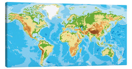 Tableau sur toile  Physical World Map