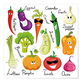 Poster  Légumes rigolos (anglais) - Kidz Collection