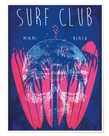 Poster  Surf Club Miami Grunge