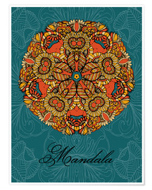 Poster  Mandala on blue
