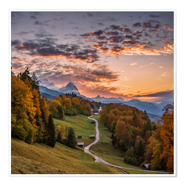 Poster  Sunset over the Zugspitze Mountain, Bavaria, Germany - Achim Thomae