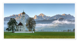 Poster  Church St. Coloman in Allgaeu autumn - Michael Valjak