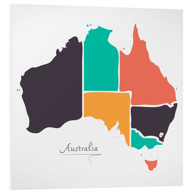 Tableau en PVC  Australia map modern abstract with round shapes - Ingo Menhard