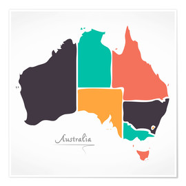 Poster Australia map modern abstract with round shapes