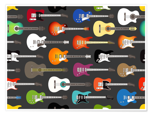 Poster Collection de guitares