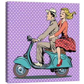 Toile  Couple on a scooter