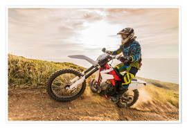 Poster  Enduro rider on the coast
