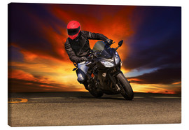 Toile  Motorcyclist in a curve
