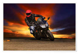 Poster  Motorcyclist in a curve
