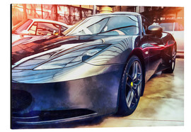 Alu-Dibond  Sports car with reflecting surface