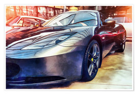 Poster  Sports car with reflecting surface