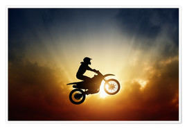 Poster  Biker jumping at sunset