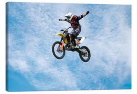 Tableau sur toile  Motorcycle racer jumping