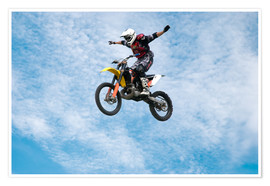Poster  Motorcycle racer jumping