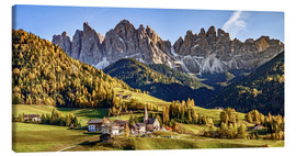 Toile  Funes in the Dolomite Alps in autumn, South Tyrol - Italy - Achim Thomae