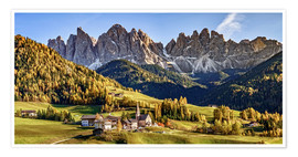 Poster  Funes in the Dolomite Alps in autumn, South Tyrol - Italy - Achim Thomae