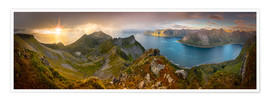 Poster  Panoramic View from Husfjellet Mountain on Senja Island during Sunset, Noway - Markus Ulrich