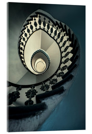 Tableau en verre acrylique  Spiral staircase in beige and blue - Jaroslaw Blaminsky