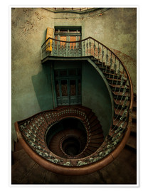 Poster Spiral staircase in an old building