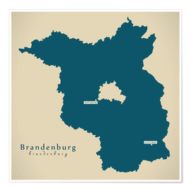 Poster  Brandenburg DE Germany Map Artwork - Ingo Menhard