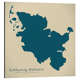 Tableau en aluminium  Schleswig Holstein DE Germany Map Artwork - Ingo Menhard