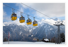 Poster  Cable car in the Alps