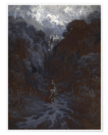 Poster  Sir Lancelot Approaching the Castle of Astolat - Gustave Doré