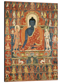 Alu-Dibond  Painted Banner (Thangka) with the Medicine Buddha (Bhaishajyaguru) - Tibetan School