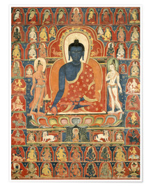 Poster  Painted Banner (Thangka) with the Medicine Buddha (Bhaishajyaguru) - Tibetan School