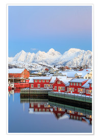 Poster  Pink sunset over the typical red houses reflected in the sea, Svolvaer, Lofoten Islands, Arctic, Nor - Roberto Moiola