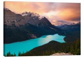Tableau sur toile  Peyto Lake at Sunset, Banff National Park, UNESCO World Heritage Site, Rocky Mountains, Alberta, Can - Miles Ertman