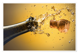 Poster  Champagne bottle and cork - Ktsdesign