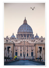 Poster St. Peter's Basilica, Vatican, UNESCO World Heritage Site, Rome, Lazio, Italy, Europe